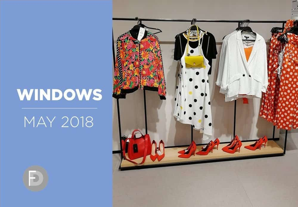Women's shoes stores windows and VM May 2018